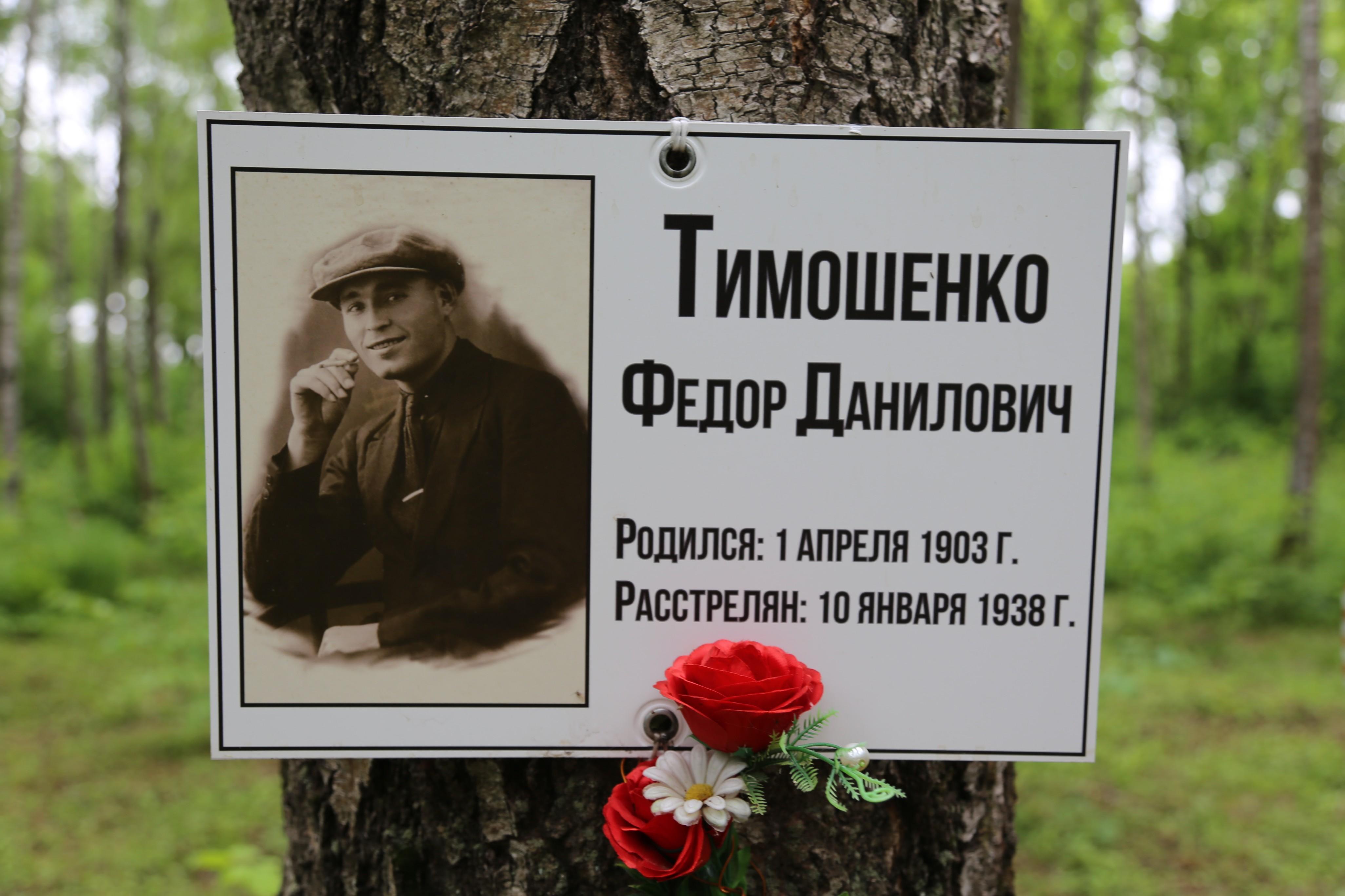 Памятная табличка Ф.Д. Тимошенко. Фото 07.06.2018.