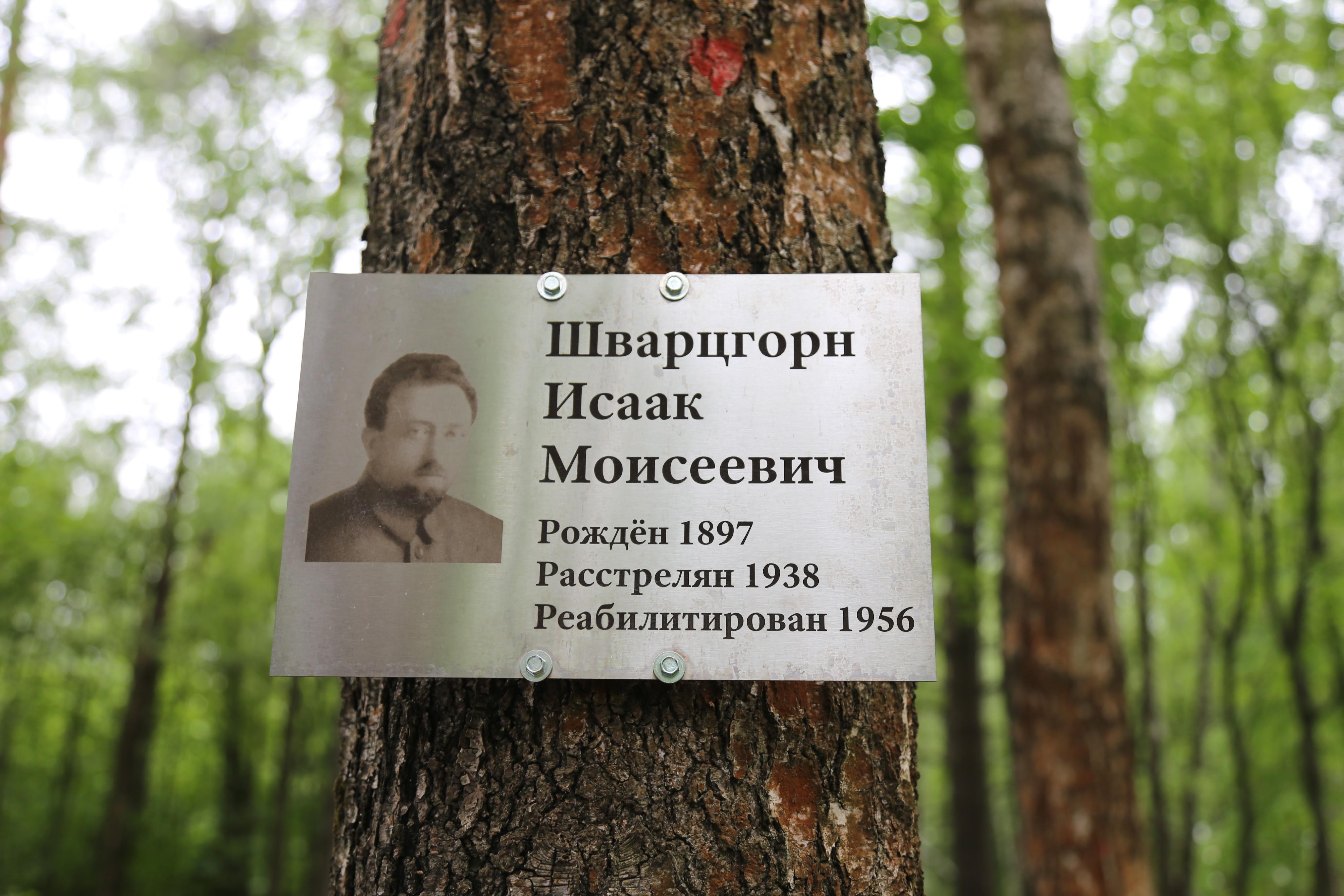 Памятная табличка И.М. Шварцгорну. Фото 07.06.2018